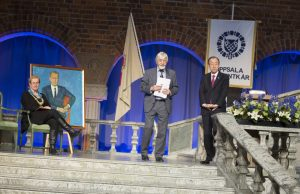 Eva Åkesson, Peter Wallensteen och Ban Ki-Moon, Dag Hammarskjöldföreläsningen 2016.